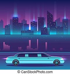 città, paesaggio, urbano, vettore, lusso, notte, fronte, ...