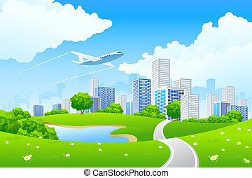 città, paesaggio verde