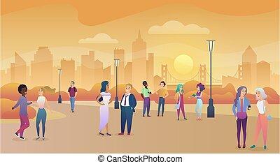 città, parco pubblico, in, sunset., persone, comunicazione, enjoing, tempo, vettore, illustration.