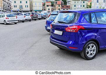 città, parking., automobile