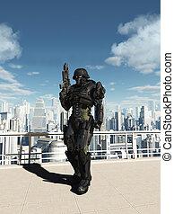 città, pattuglia, spazio, -, marino, commando