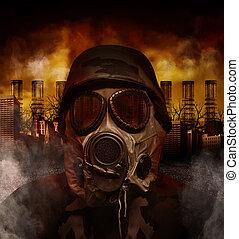 città, pericolo, maschera, gas, inquinato, soldato, guerra
