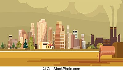 città, pianta, tubo, natura, inquinato, acqua, sporco,...