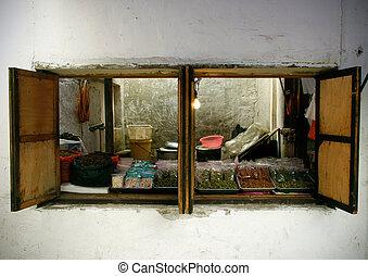 città, piccolo, finestra, porcellana, negozio