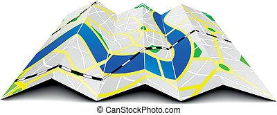 città, piegato, mappa