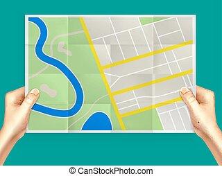 città, piegatura, composizione, mappa