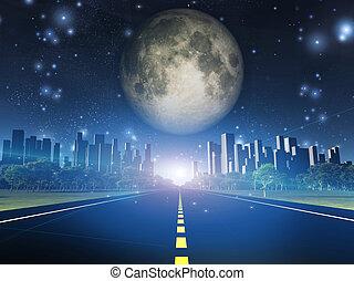 città, pieno, autostrada, luna