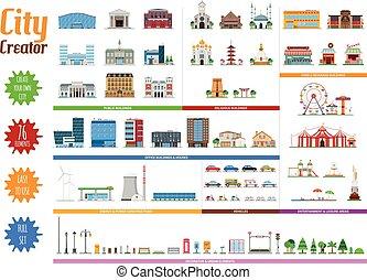 città, pieno, creatore, collezione, 76, elementi
