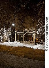 città, pietra, parco, neve, arco