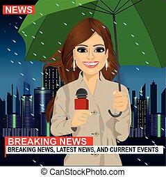città, piovoso, ombrello, grattacieli, lavorativo, microfono, tempo, giornalista, femmina, notte, fronte, presa a terra
