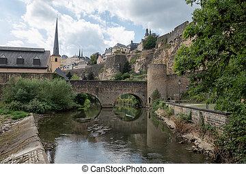 città, ponte, grund, lussemburgo, centro, fortificazioni, alzette, fiume