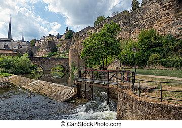 città, ponte pietra, diga, lussemburgo, fortificazioni, alzette, fiume