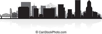 città, portland, silhouette, orizzonte