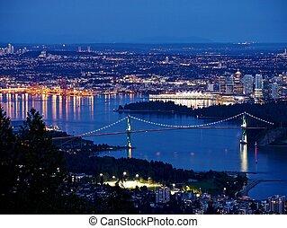 città, porto, notte, vista., bridge., porto