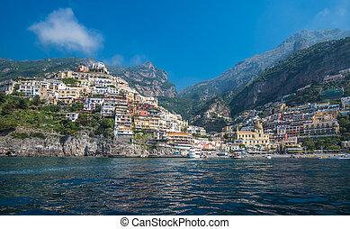 città, positano, campania, costa amalfi, piccolo, italia