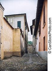 città, provinciale, strada, piccolo, tipico, italiano