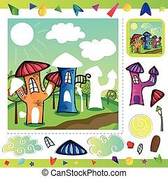 città, puzzle, -, cartone animato
