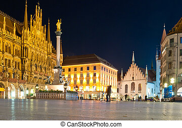 città, quadrato, vecchio, marienplatz, monaco, notte,...