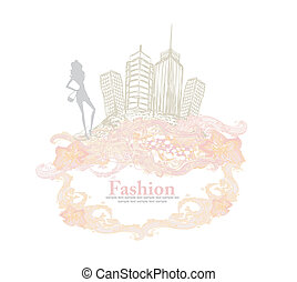 città, ragazza, moda, shopping