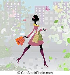 città, ragazza, shopping, romantico