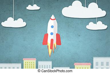 città, razzo, volare, illustrazione, sopra, cartone animato