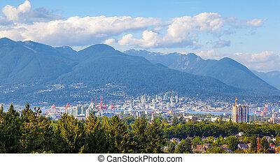 città, riva, vancouver, nord, montagne