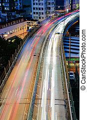 città, scena notte, luce, automobili
