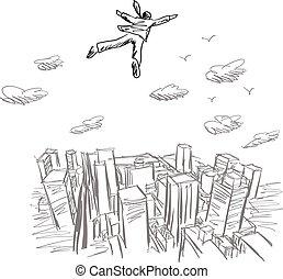 città, schizzo, cielo, sopra, volare, linee, isolato, illustrazione, mano, vettore, sfondo nero, uomo affari, disegnato, bianco
