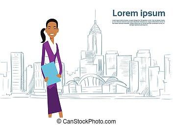 città, schizzo, donna d'affari, sopra, grattacielo, cartone animato