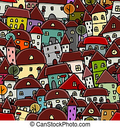 città, schizzo, modello, seamless, disegno, tuo