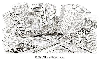 città, schizzo, occhio, disegno, fondo, uccello, paesaggio, ...