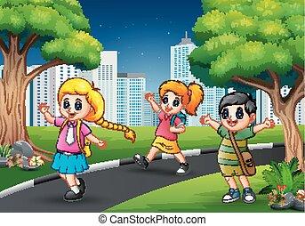 città, scuola, camminare, bambini, strada, felice