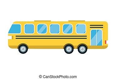 città, scuola, stazione, trasporto, passeggero, autobus, viaggiare, strada, isolato, illustrazione, consegna, vettore, traffico, giallo, veicolo, camion, turismo, viaggio, trasporto