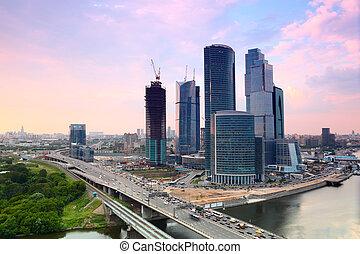 città, sera, grattacieli, panorama, mosca, mosca, complesso,...