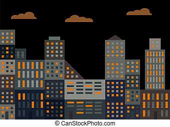 città, sera