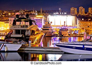 città, sera, rijeka, yachting, zona portuale, vista