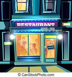 città, sera, ristorante, vettore, facciata, cartone animato