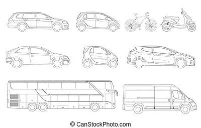 città, set, contorno, icone, cars., vettore, transport., vista laterale