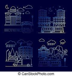 città, set, vettore, notte, linea, bandiere, paesaggio