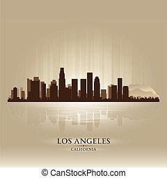 città, silhouette, angeles, los, orizzonte, california