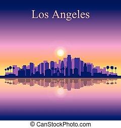 città, silhouette, angeles, los, orizzonte, fondo