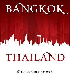 città, silhouette, bangkok, orizzonte, fondo, tailandia, rosso