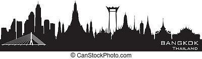 città, silhouette, bangkok, orizzonte, vettore, tailandia