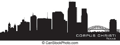 città, silhouette, christi, orizzonte, vettore, corpo, texas