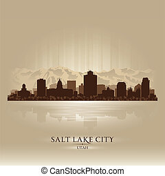 città, silhouette, città, utah, lago, orizzonte, sale