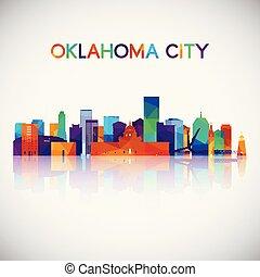 città, silhouette, colorito, oklahoma, orizzonte, geometrico, style.