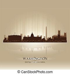 città, silhouette, distretto, washington, orizzonte,...