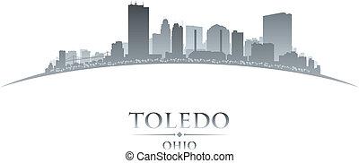 città, silhouette, fondo, toledo, ohio, bianco