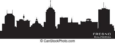 città, silhouette, fresno, orizzonte, vettore, california