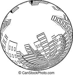 città, silhouette, globe., skyscrapers., edifici., scena, vettore, cityscape., monocromatico, rotondo, design.